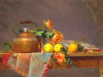 Copper Teapot with Orange and Roses