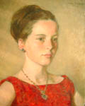 Young Lady in Red by Carl Felkel part of our Figurative Gallery