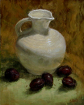 White Pitcher with Plums